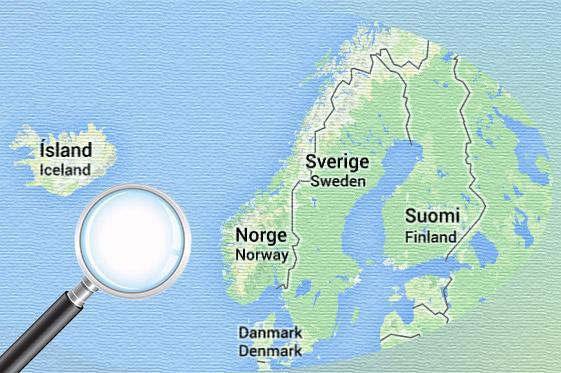 Pohjoismaiden kartta ja suurennuslasi.