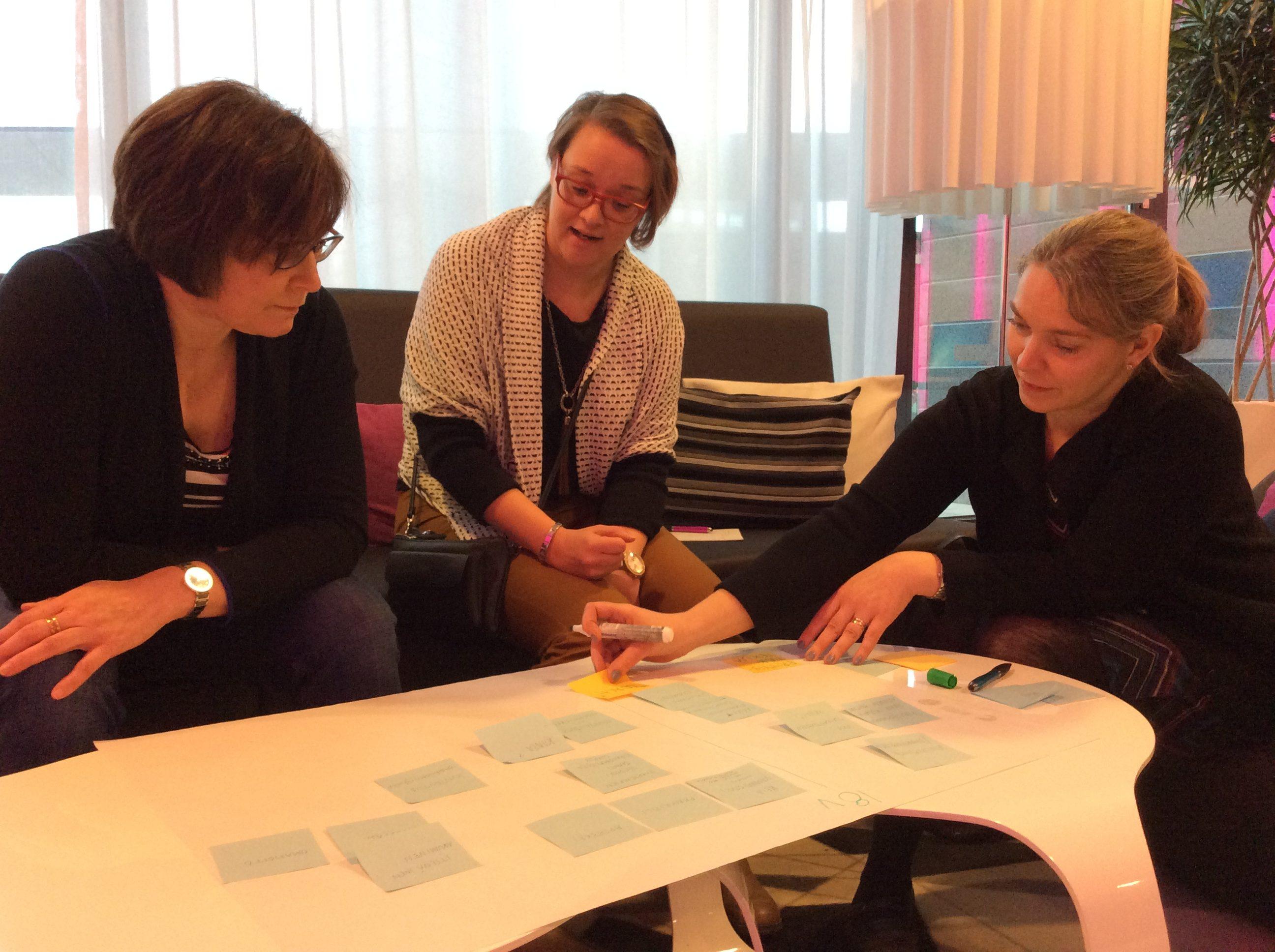 Kolme naista keskustelemassa ja kirjoittamassa fläppipaperille.